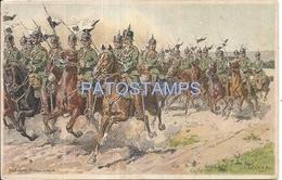 66319 GERMANY ART SIGNED MILITARY SOLDIER A HORSE WAR POSTAL POSTCARD - Allemagne