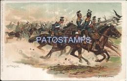 66320 GERMANY  ART SIGNED MILITARY SOLDIER A HORSE WAR POSTAL POSTCARD - Allemagne