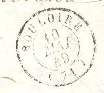 SARTHE 72 BOULOIRE LAC TAD 15 Du 10/05/1849 Taxe 2 Tampon TTB - Poststempel (Briefe)