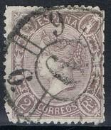 Sello 2 Reales Isabel II 1865, Lila Oscuro, Carreta Modificada Num 6 De MALAGA, Edifil Num 79 º - Usados