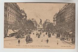 CPA PARIS 3° ARRONDISSEMENT - Rue Du Temple Et Place De La République - Paris (03)
