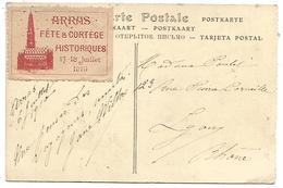 VIGNETTE ERINNOPHILE ARRAS FETE & CORTEGE HISTORIQUES 1910 SUR CARTE - Erinnofilie