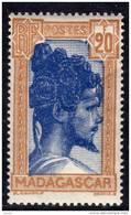 Madagascar N° 178 XX Chef Sakalave  : 20  F. Bistre Et Bleu Sans Charnière, Gomme Tropicale   Sinon TB
