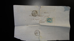 Lettre Enveloppe - GC1110 Sur 20c Bleu Napoléon III N°22 - Année 1864 - 1849-1876: Classic Period