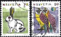 Switzerland 1991 - Domestic Rabbit & Owl Frighten ( Mi 1436/37 - YT 1364/65 )