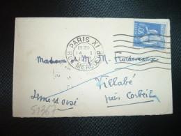 LETTRE MIGNONNETTE TP PAIX 90c OBL.MEC.14 I 1939 PARIS XI  + VIGNETTE CONTRE LA TUBERCULOSE 1958 OBL.MEC. - Antituberculeux