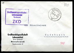 """DDR 1962 ZKD Bedarfsbrief/Cover Mit Blauen.ZKD Kastenstempel""""Stralsund-Großhandelsgesellschaft Lebensmittel""""1 Beleg - DDR"""