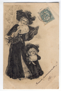 Illustration Femme Petite Fille Manteau Chapeau Gaufrée - 1900-1949