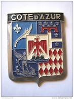 ANCIENNE PLAQUE DE CALANDRE VOITURE ANNEE 1950 COTE D´AZUR NICE EXCELLENT ETAT DRAGO PARIS - Reclameplaten