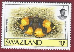 1992 -Yelow Pansy (Junonia Hierta Ssp. Cebrene) - Mi:SZ 607   -** - Swaziland (1968-...)