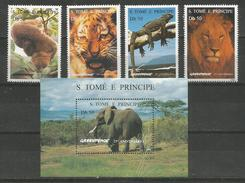 S.TOME E PRINCIPE - MNH - Animals - Wild Animals - Elephants - Tiger