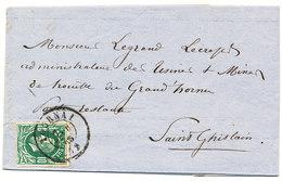1873 BRIEF MET OBP30 VAN TOURNAI NAAR St GHISLAIN  EN AANKOMSTSTEMPEL - 1869-1883 Léopold II
