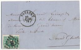1872 BRIEF MET OBP30 VAN TOURNAI NAAR St GHISLAIN  AANKOMST- EN PUNTSTEMPEL Pt363 - 1869-1883 Léopold II