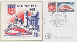 Enveloppe  FDC  Bloc  CNEP   Salon  RHONALPEX    LYON   1981