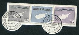 1960 :SG 203/205/fragm- Proclamation Of The Republic Of CYPRUS.pmk First Day Of Issue & First Day Of The Republic.Chypre
