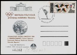 714-CZECHOSLOVAKIA Postal Card-imprint A Numbered M. PALFYOVA 1. The Slovak Olympic Medal Gymnastics 1000 Pcs 1992