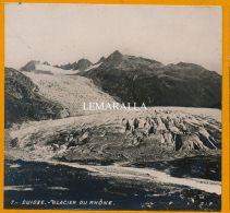 LE GLACIER DU RHONE - PHOTO STEREO DE 1890  - LA SOURCE - PHOTOGRAPHIE - SUISSE VALAIS