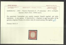 ANTICHI STATI SARDEGNA 1861 VITTORIO EMANUELE IV EMISSIONE CENT 40 40c VERMIGLIO MATTONE CHIARO MLH - Sardinia