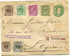 BELGIQUE ENTIER POSTAL RECOMMANDE DEPART BRUXELLES 29 AVRIL 93 POUR LA FRANCE - 1893-1900 Thin Beard