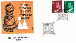 Spanien Brief Mit Sonderstempel Und Zudruck - Schach Figuren Aus Linares - Chess - 1931-Hoy: 2ª República - ... Juan Carlos I