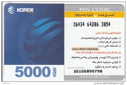 KURDISTAN(North IRAQ) - Korek Telecom Mini Prepaid Card 5000 IQD(left), Used - Iraq