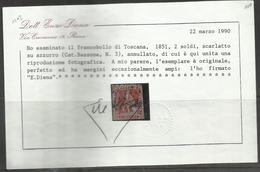 ANTICHI STATI TOSCANA 1851 1852 MARZOCCO 2 SOLDI 2s USATO USED OBLITERE'