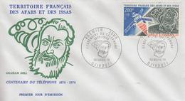 Enveloppe  FDC  1er Jour  TERRITOIRE  FRANCAIS   Des   AFARS  Et  ISSAS   Centenaire  Du  Téléphone  Graham  BELL   1976