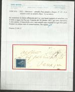ANTICHI STATI TOSCANA 1851 1852 MARZOCCO 6 CRAZIE 6 CR AZZURRO SCURO SU AZZURRO ANNULLO PISA A RAGNO USATO SU LETTERA