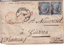 ITALIE - LETTRE POUR LA FRANCE N°22 EN PAIRE - CACHET ROOUGE ITALIE AMB MONTCENIS 17 MAI 1866. - 1861-78 Victor Emmanuel II.