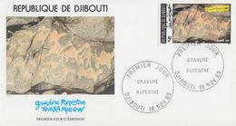 Enveloppe  FDC  1er   Jour    DJIBOUTI    Gravure  Rupestre  De  TOURKA  MADOW    1989