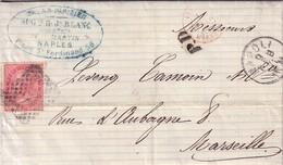 ITALIE - LETTRE DE NAPLES POUR LA FRANCE - CACHET ROUGE ITALIE MARSEILLE - LE 9-2-1871 - 1861-78 Victor Emmanuel II.