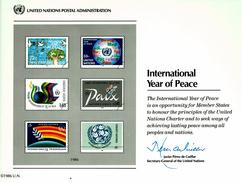 UNO VN ONU 1986 - Souvenir Erinnerungskarte Commemorative Card - Year Of Peace - New York -  VN Hauptquartier