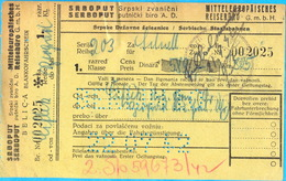 WW II. Serbia. The `Srboput` Raiway Ticket Ciflik (Bela Palanka) - Belgrade. - Tickets D'entrée