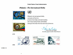 UNO VN ONU 1986 - Souvenir Erinnerungskarte Commemorative Card - Philately - The International Hobby - New York -  VN Hauptquartier