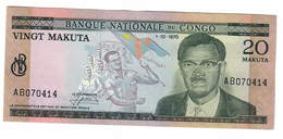 Congo 20 Makuta 1/10/1970 XF - Congo