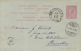 BR-7965   ANTWOORDKAART 1896     BASEL   ZWITSERLAND    Naar   BRUXELLES - 1884-1891 Léopold II