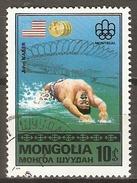 MONGOLIE    -   NATATION   -   Oblitéré .