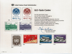 UNO VN ONU 1985 - Souvenir Erinnerungskarte Commemorative Card - ILO - Turin Centre - New York -  VN Hauptquartier