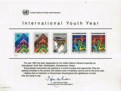 UNO VN ONU 1984 - Souvenir Erinnerungskarte Commemorative Card - International Youth Year - New York -  VN Hauptquartier