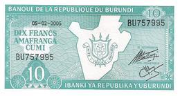 Burundi - Pick 33e - 10 Francs 2005 - Unc - Burundi