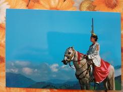 Russia. Altai. Tuva. Altaian Woman Riding Horse - Traditional Costume - Russia