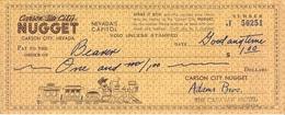 Carson City Nugget Casino - Carson City, NV - 8.5 X 3.5 Inch Paper $1 Courtesy Play Check - Advertising