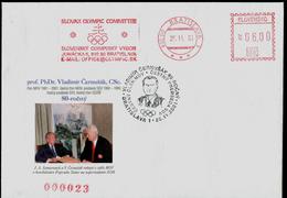560-SLOVAKIA Cover With Imprint International Olympic Committee (ICO) Chairman SAMARANCH+member ČERNUŠAK 80