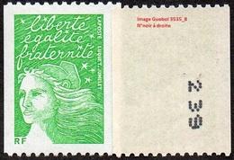 France Marianne Du 14 Juillet N° 3535 B ** Luquet -  Roulette Du  TVP RF Vert Numéro Noir à Droite - 1997-04 Marianne Of July 14th