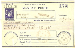 CTD24 - MANDAT POSTE TYPE SAGE SANS VALEUR MOD. 1937 - STORCH R13 - CHAMBON  30/10/193 A DESTINATION DU SP 226 - Autres