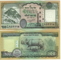 """NEPAL  NEW 100 Rupees  """"just Issued""""  With Added Baby Rhino   2016    UNC - Nepal"""