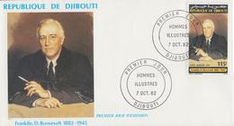 Enveloppe  FDC  1er  Jour    REPUBLIQUE   De   DJIBOUTI    Franklin  D. ROOSEVELT   1982 - Djibouti (1977-...)