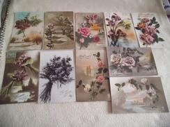 LOT DE 10 BELLES ILLUSTRATIONS FANTAISIES ...PAYSAGES.FLEURS....BONNE ANNEE - Cartes Postales