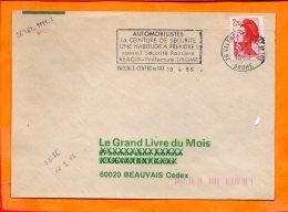 DROME, Valence, Flamme à Texte, Automobilistes  La Ceinture De Sésurité Une Habitude à Prendre - Poststempel (Briefe)