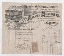 FACTURES - HORLOGERIE BIJOUTERIE ORFEVRERIE ET JOAILLERIE, Michel MONDREL à Laigle - France